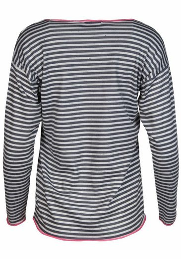 Twin Heart Round Neck Sweater With Stripes And Logo Print