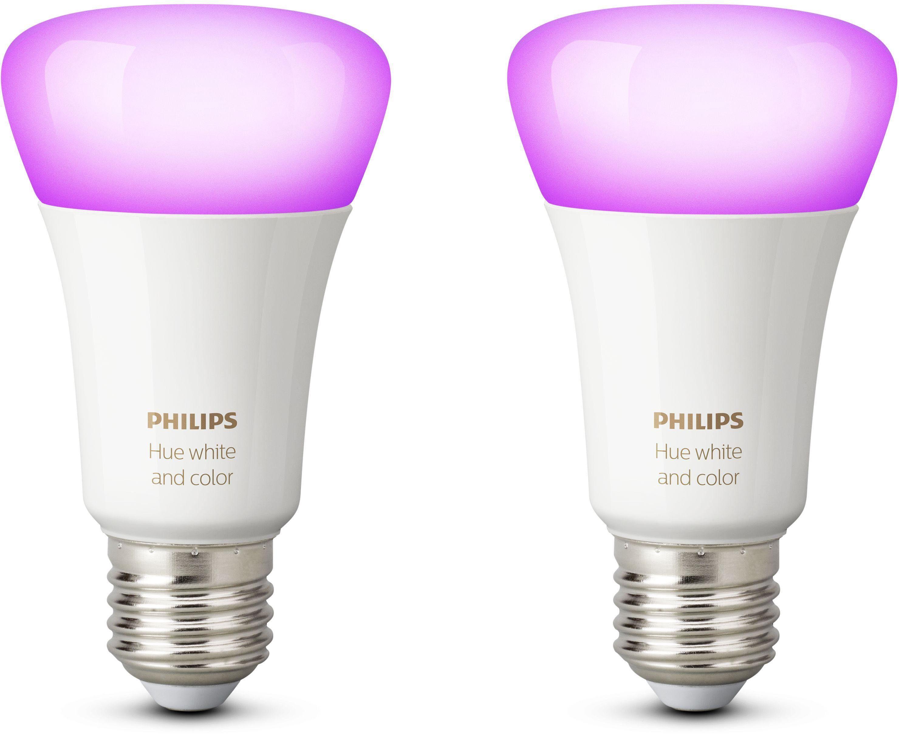Philips Hue White & Color Ambiance E27 Doppelpack - smartes LED-Lichtsystem mit App-Steuerung