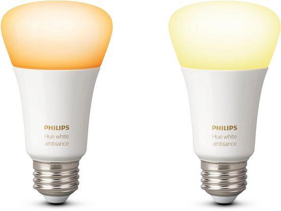 Philips Hue »White Ambiance« LED-Leuchtmittel, E27, 2 Stück, Neutralweiß, Tageslichtweiß, Warmweiß, Extra-Warmweiß, Farbwechsler, smartes LED-Lichtsystem mit App-Steuerung