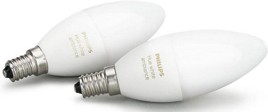 Philips Hue »WHITE AMBIANCE« LED-Leuchtmittel, E14, 2 Stück, Neutralweiß, Tageslichtweiß, Warmweiß, Extra-Warmweiß, Farbwechsler, smartes LED-Lichtsystem mit App-Steuerung