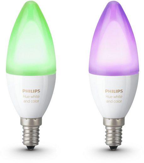 Philips Hue »White and Color Ambiance« LED-Leuchtmittel, E14, 2 Stück, Neutralweiß, Tageslichtweiß, Warmweiß, Extra-Warmweiß, Farbwechsler, smartes LED-Lichtsystem mit App-Steuerung