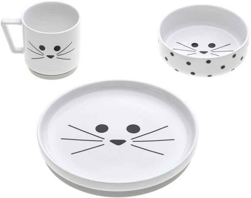 LÄSSIG Kindergeschirr-Set »Little Chums, Cat« (3-tlg), Porzellan, rutschfest