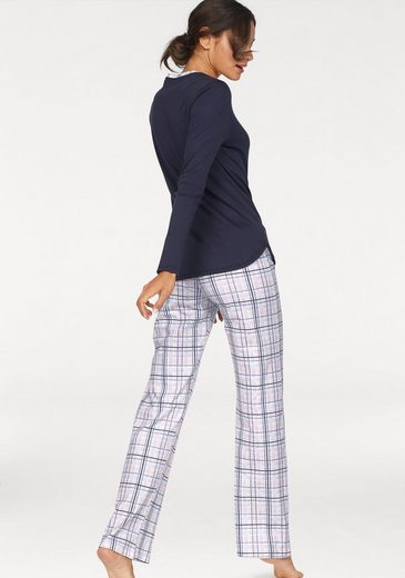 Huber Pyjama im Karomuster mit Knopfleiste