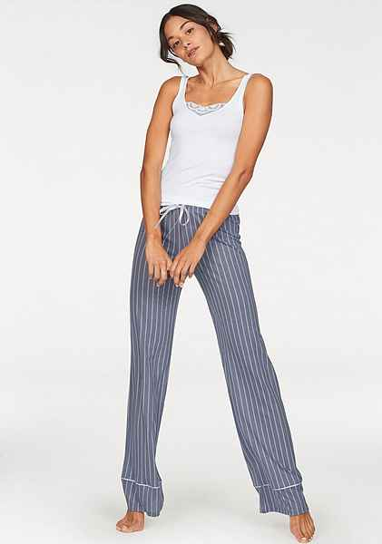 Im Streifendesign Blue Pyjamahose Mit Striped Weitem Huber Bein White tdshCQrx