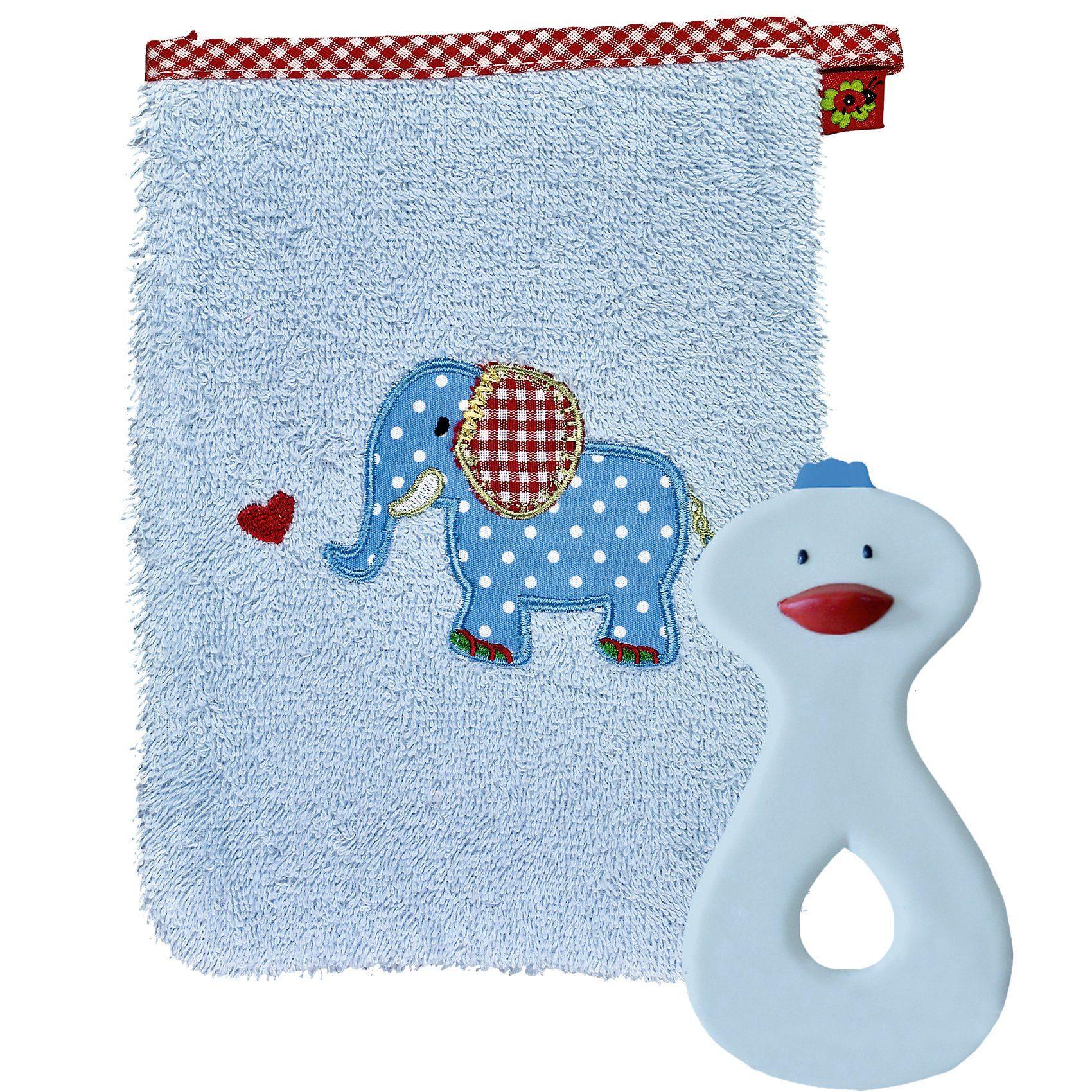 Spiegelburg Geschenkset Waschhandschuh und Beißring hellblau BabyGlück