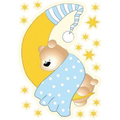 Wandsticker Bärchen, Mond und Sterne, blau