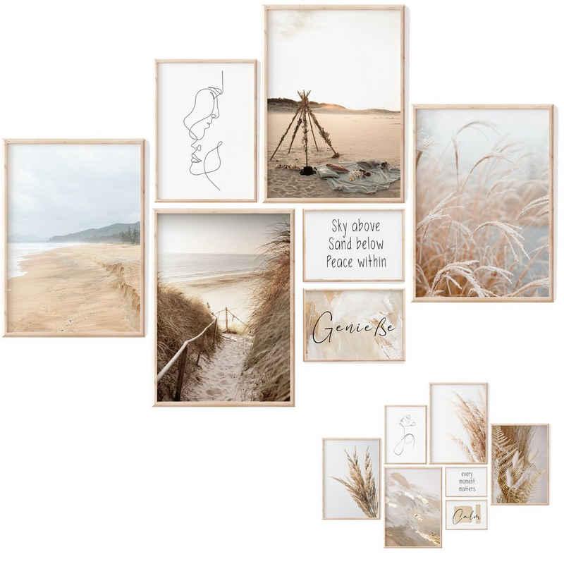 myDreamwork Poster »Poster Set Kunstdrucke Natur Strand«, Boho, Beige, Beidseitig (7 Stück), Liebevoll verpackt - Ohne Rahmen