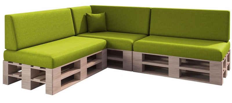 sunnypillow Palettenkissen »Milano - 8er Set Palettenauflage mit abnehmbarem Bezug Kaltschaum, Indoor / Outdoor«, palettenmöbel palettencouch sitzkissen + rückenkissen polsterauflage
