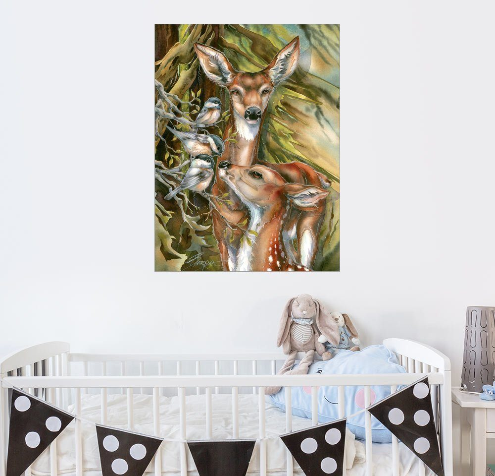 Posterlounge Wandbild - Jody Bergsma »Rehe und Vögel«
