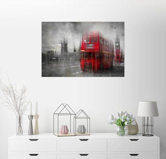 Posterlounge Wandbild - Melanie Viola »City Art LONDON Red Buses III«