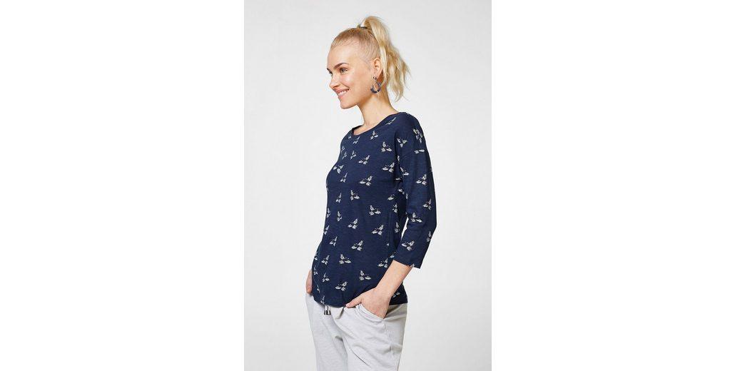 ESPRIT Shirt mit Glitzer-Print, 100% Baumwolle