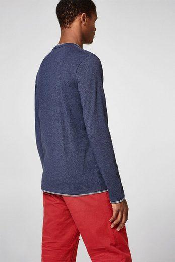 ESPRIT Jersey-Longsleeve mit geringeltem Layer