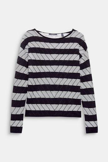 ESPRIT COLLECTION Luftiger Ajour-Pullover mit Blockringeln