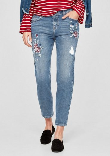 s.Oliver RED LABEL Girlfriend Ankle: Flower-Jeans