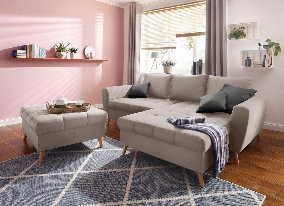 home affaire ecksofa penelope mit longchair feiner steppung im sitzbereich lose kissen. Black Bedroom Furniture Sets. Home Design Ideas