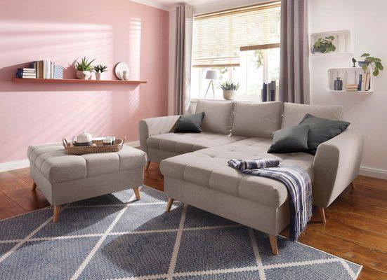 Home affaire Ecksofa »Penelope«, mit Longchair, feiner Steppung im Sitzbereich, lose Kissen