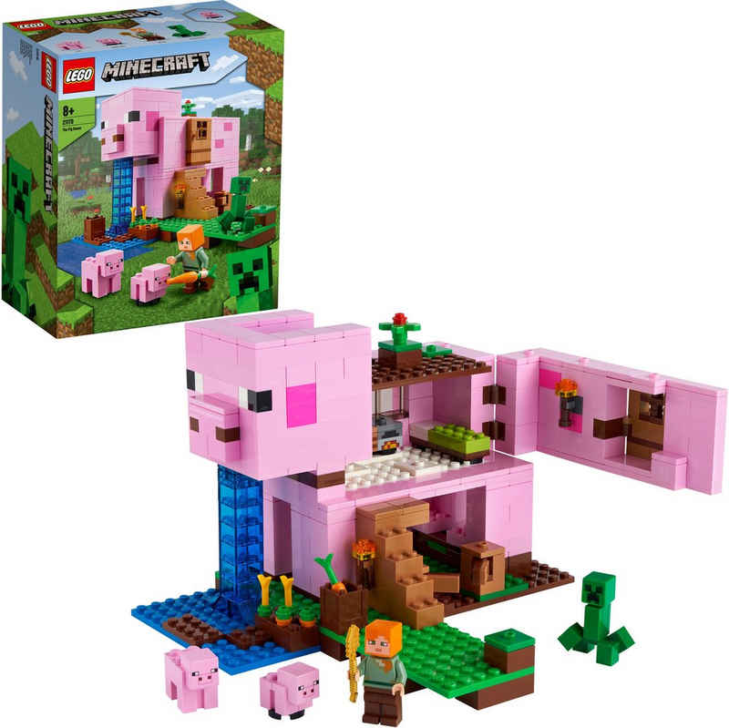 LEGO® Konstruktionsspielsteine »Das Schweinhaus (21170), LEGO® Minecraft™«, (490 St), Made in Europe