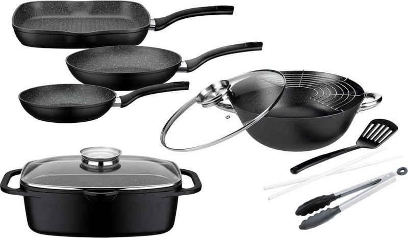 GSW Topf-Set »Gourmet Granit«, Aluminiumguss, (Set, 7-tlg., (3 Pfannen, 1 Bräter, 1 Multi-Wok, 1 Kochzange, 1 Pfannenwender), Induktion