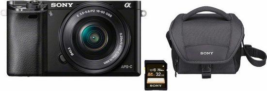 Sony »Alpha ILCE-6000L« Systemkamera (SEL-P1650, 24,3 MP, WLAN (Wi-Fi), NFC, Gesichtserkennung, HDR-Aufnahme, Makroaufnahme)