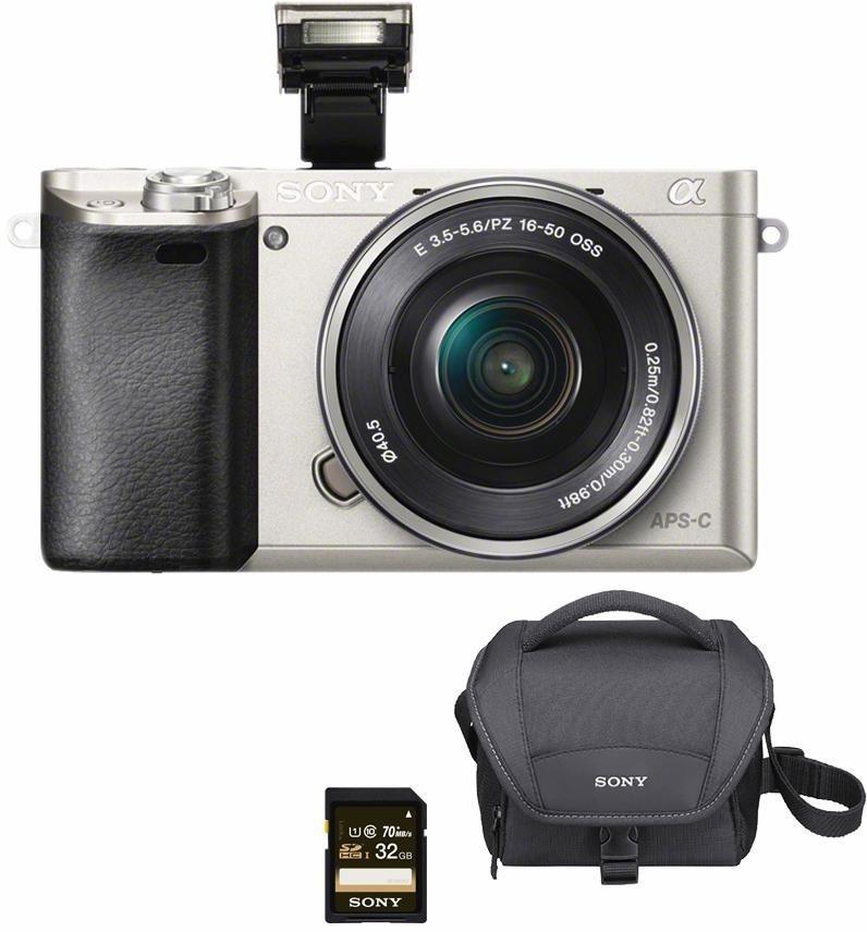 Systemkameras - Sony »Alpha ILCE 6000L« Systemkamera (SEL P1650, 24,3 MP, WLAN (Wi Fi), NFC, Gesichtserkennung, HDR Aufnahme, Makroaufnahme)  - Onlineshop OTTO