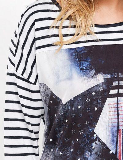 Taifun T-Shirt Langarm Rundhals Langarmshirt mit Material-Mix