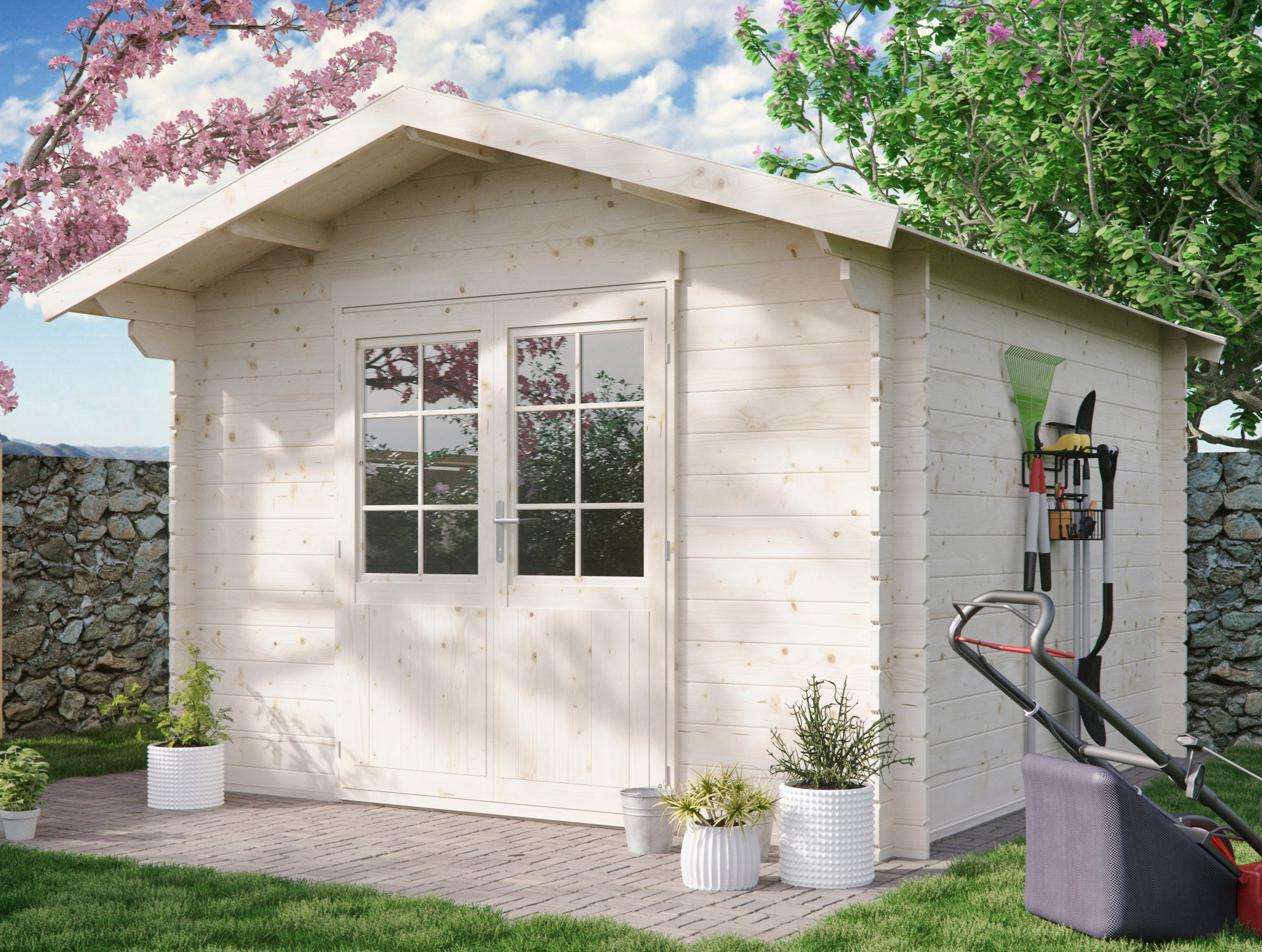 LUOMAN Gartenhaus »Kanada 2/28«, BxT: 300x300 cm, 28 mm, inkl. Aufbau