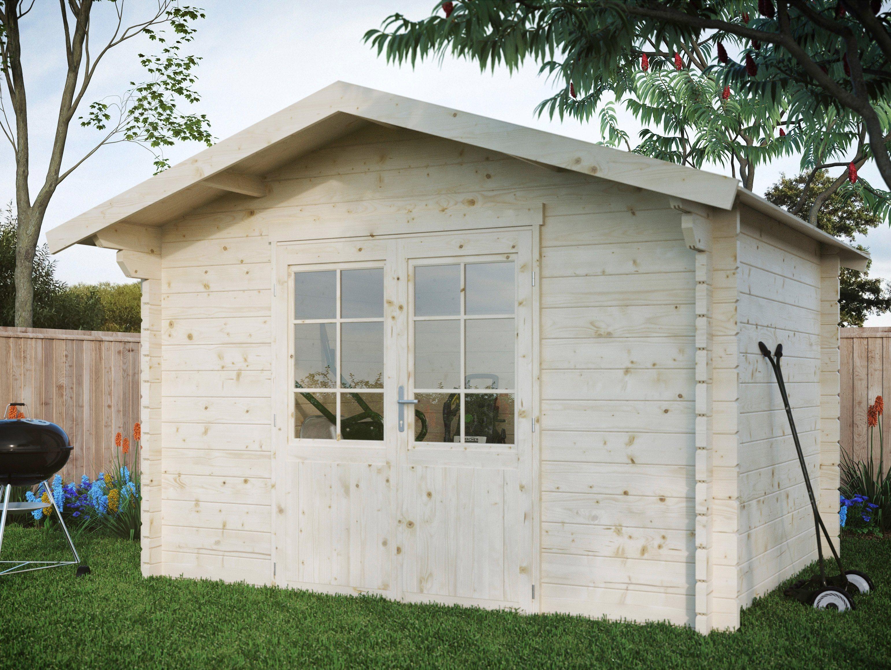 LUOMAN Gartenhaus »Kanada 1/44«, BxT: 350x296 cm, inkl. Aufbau und Fußboden, 44 mm Wandstärke | Garten > Gartenhäuser | Luoman
