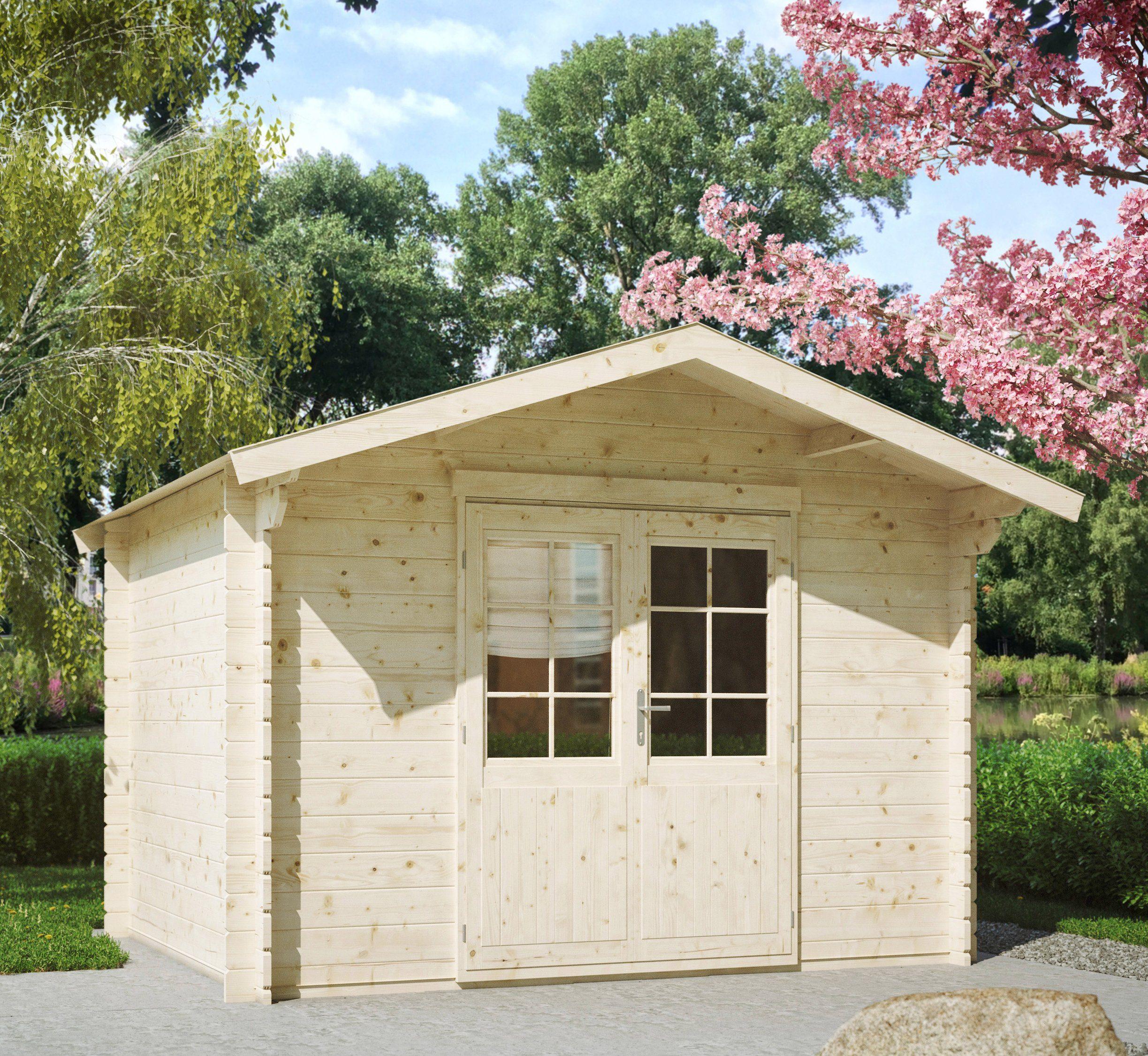LUOMAN Gartenhaus »Kanada 1/28«, BxT: 350x296 cm, inkl. Aufbau und Fußboden, 28 mm Wandstärke