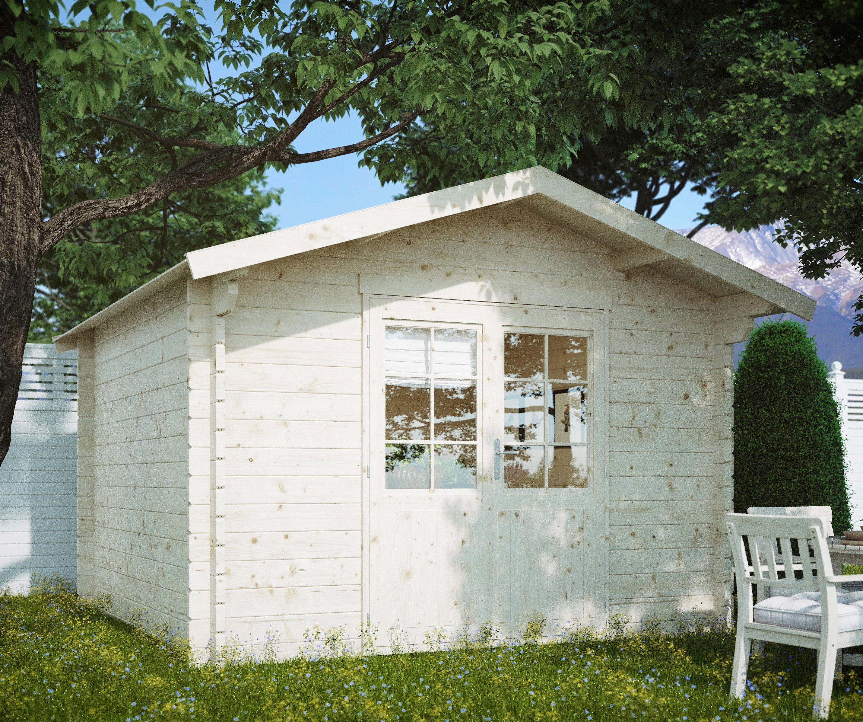 LUOMAN Gartenhaus »Kanada 2/44«, BxT: 350x366 cm, inkl. Aufbau und Fußboden, 44 mm Wandstärke