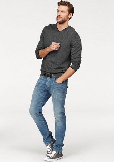 ESPRIT V-Ausschnitt-Pullover, Kontrastausschnitt