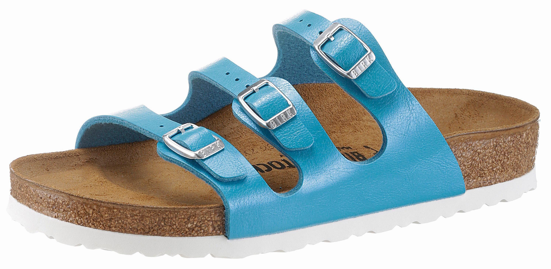 Birkenstock »FLORIDA« Pantolette, in schmaler Schuhweite, mit drei verstellbaren Schnallen, blau, EURO-Größen, ocean