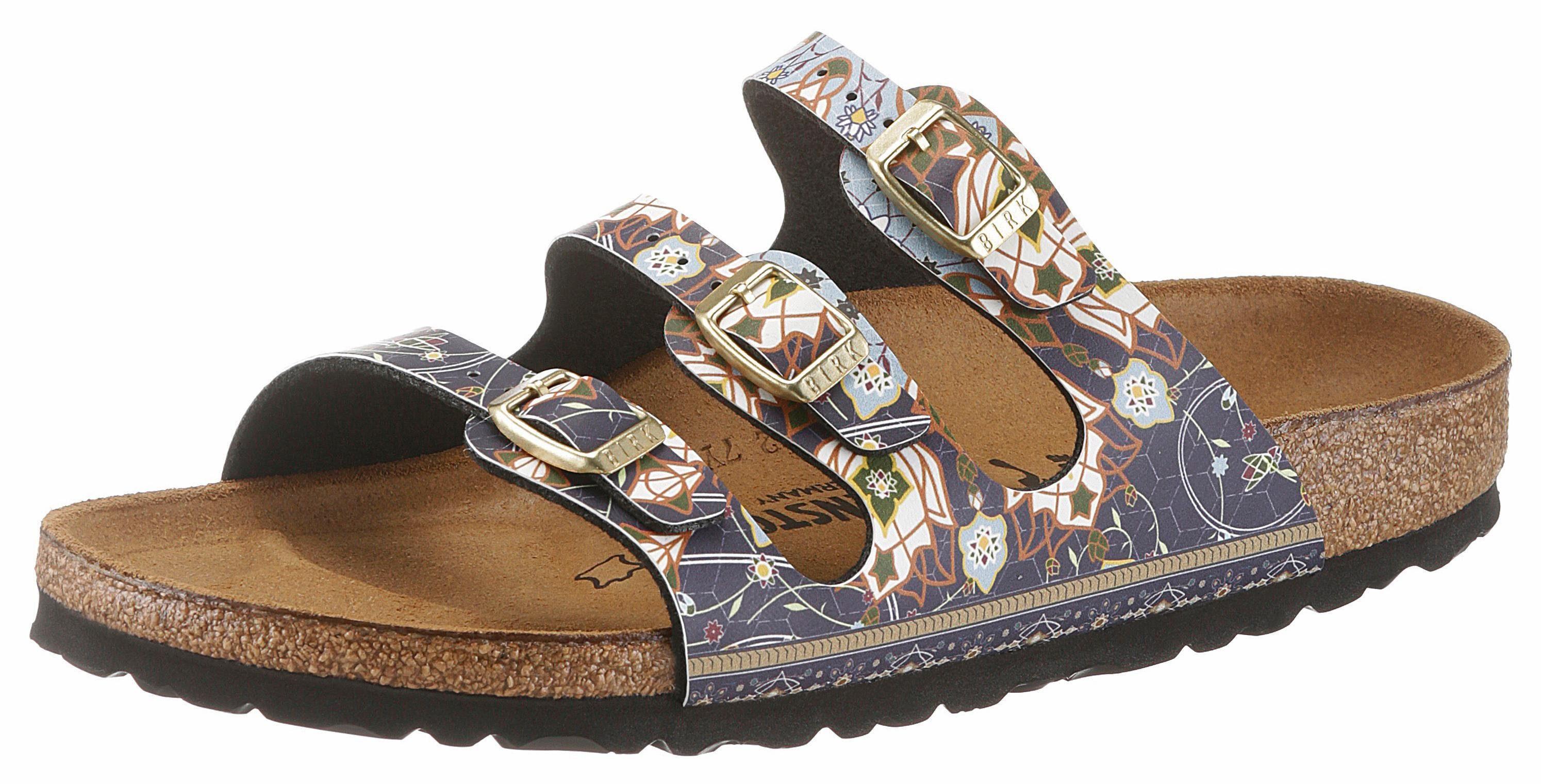 Birkenstock FLORIDA Pantolette, in schmaler Schuhweite, mit ergonomisch geformtem Fußbett online kaufen  blau-bunt