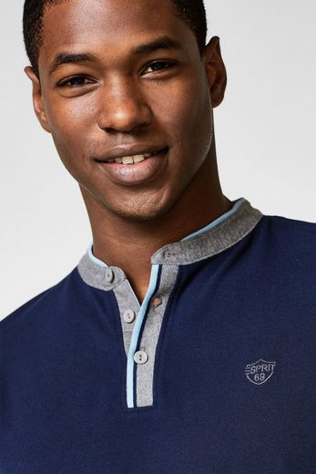 ESPRIT COLLECTION Polo-Longsleeve aus 100% Baumwolle