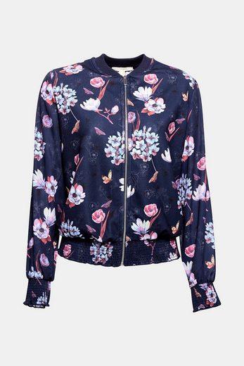 ESPRIT Bomber-Jacke aus floralem Material-Mix