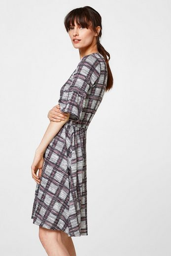 Esprit Jersey-stretch Dress With Frilly Sleeves