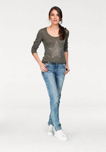 Tamaris Vokuhila-Pullover, mit Nietenverzierung