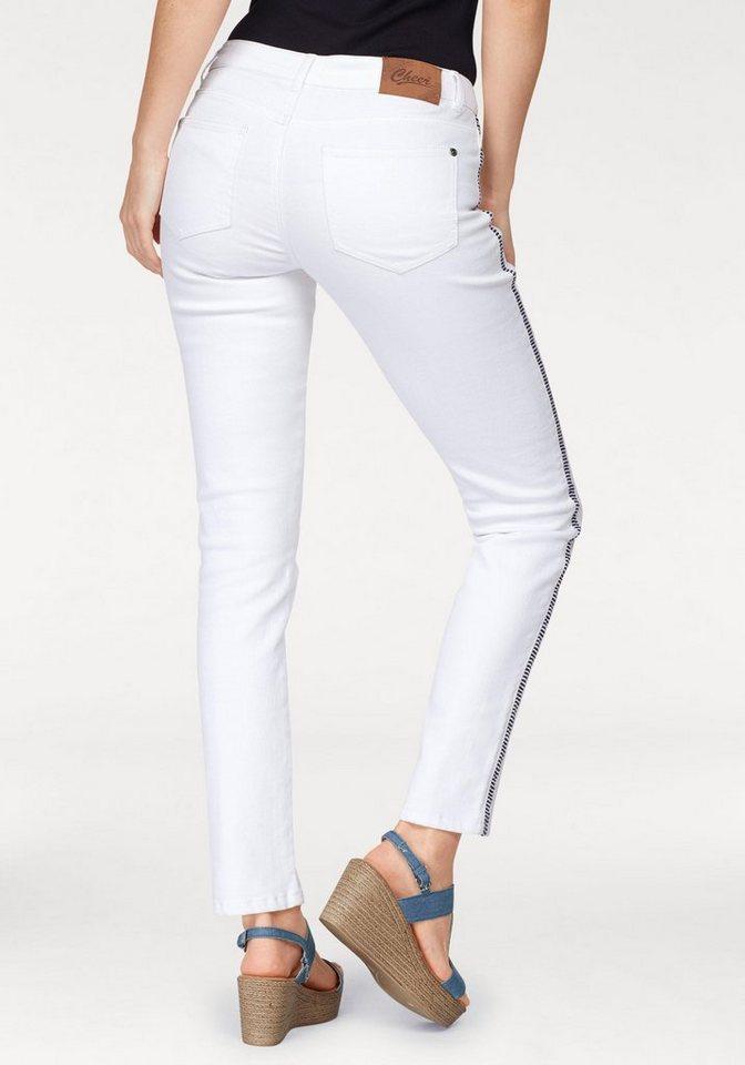 cheer skinny fit jeans mit streifen einsatz in der. Black Bedroom Furniture Sets. Home Design Ideas