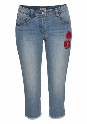 Aniston Caprijeans, mit Blumen-Patches