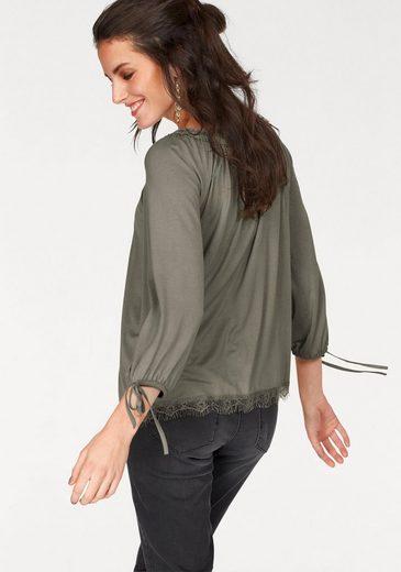 Aniston Carmenshirt, mit Spitzenbordüre am Saumabschluss