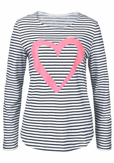 Aniston Langarmshirt, im Marine-Look