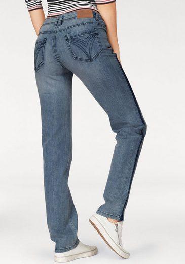 Cheer Straight-Jeans mit kontrastfarbenen Einsatz in der Seitennaht