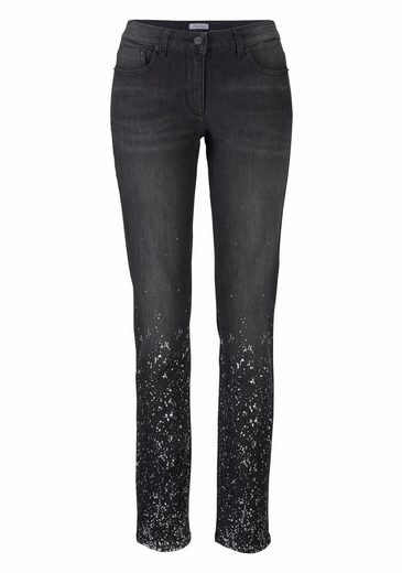 Aniston Skinny-fit-Jeans, mit silberfarbenem Print