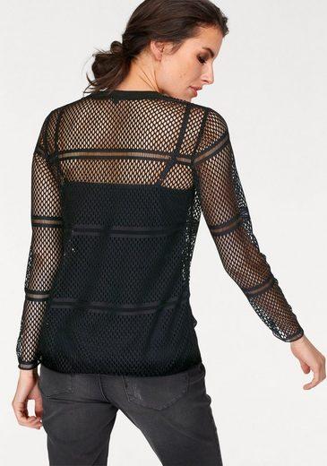 Aniston Langarmshirt, im Netz-Look