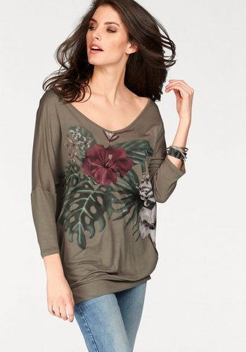 Damen Aniston by BAUR V-Shirt mit Frontdruck grün | 08698826350847