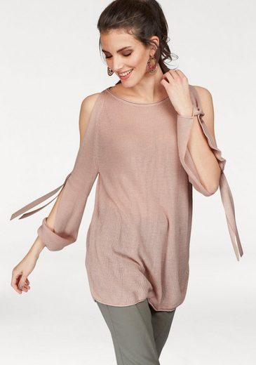 Aniston Rundhalspullover, mit Cut-Outs an Schulter und Arm
