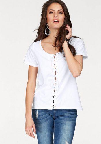 Damen Aniston by BAUR T-Shirt mit trendiger Schnürung im Vorderteil weiß | 08699050279959