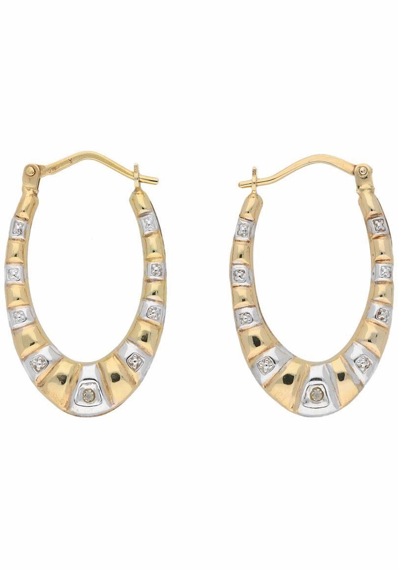 Firetti Paar Creolen mit Diamanten, zweifarbig, strukturiert