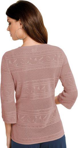 Fair Lady Pullover mit schmalen und breiten Ajour-Streifen