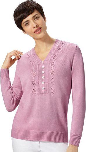 Classic Basics Pullover mit streckendem Ajourmuster im Vorderteil