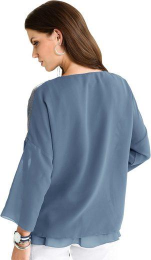 Fair Lady Bluse mit Pailletten auf den Schulterpassen